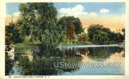 Cedar Park Pond - Hudson, New York NY Postcard