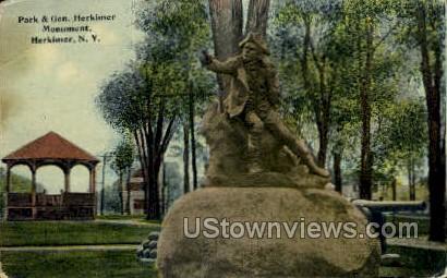 Park & Gen. Herkimer Monument - New York NY Postcard