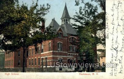 High School - Herkimer, New York NY Postcard