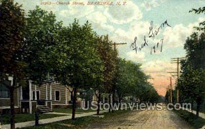 Church Street - Herkimer, New York NY Postcard