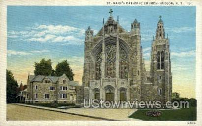 St. Mary's Catholic Church - Hudson, New York NY Postcard