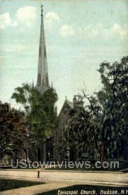 Episcopal Church - Hudson, New York NY Postcard