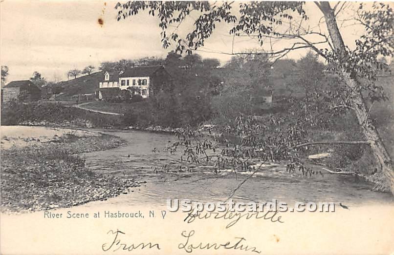 River Scene - Hasbrouck, New York NY Postcard