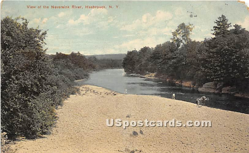 View of the Neversink River - Hasbrouck, New York NY Postcard