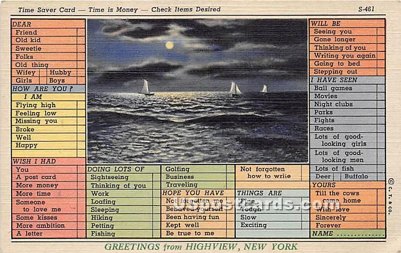 Time Saver Card - High View, New York NY Postcard