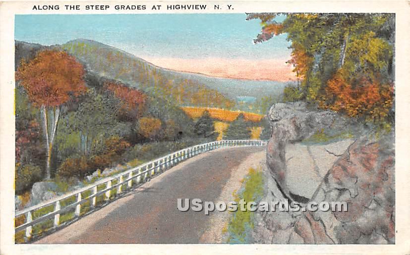 Along the Steep Grades - High View, New York NY Postcard