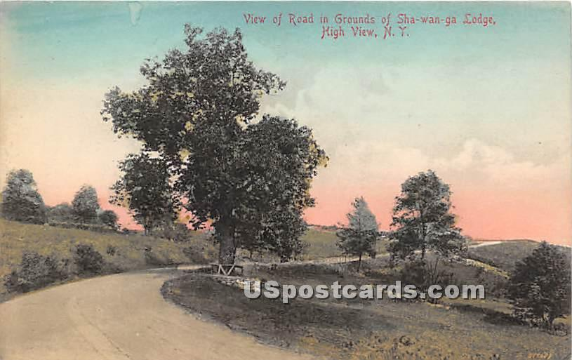 View of Road in Grounds of Sha Wan Ga Lodge - High View, New York NY Postcard