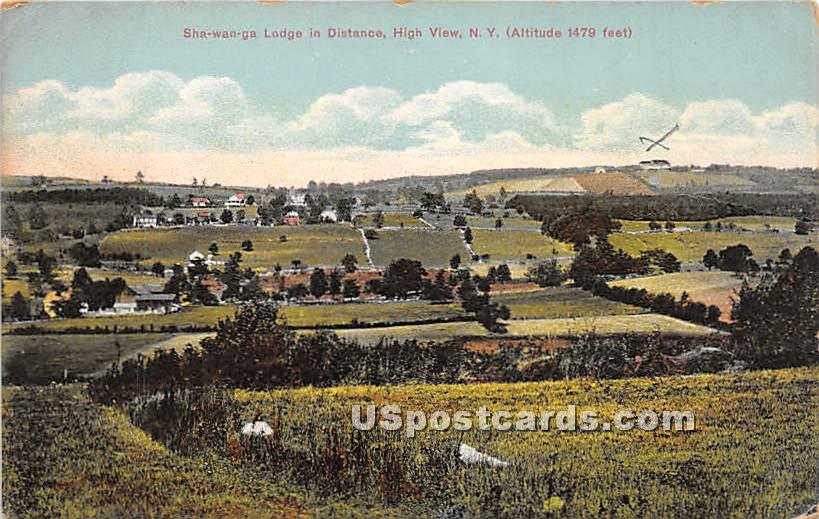 Sha Wan Ga Lodge in Distance - High View, New York NY Postcard