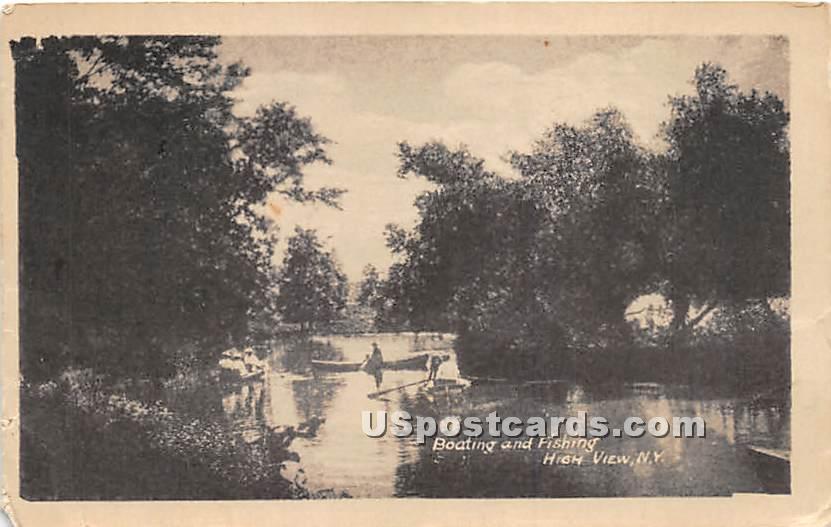Boating and Fishing - High View, New York NY Postcard