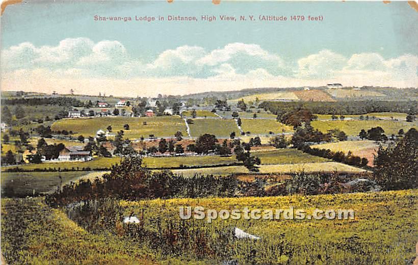 Shawanga Lodge in Distance - High View, New York NY Postcard
