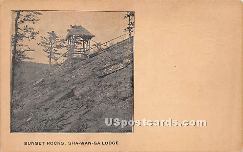 Sunset Rocks - High View, New York NY Postcard