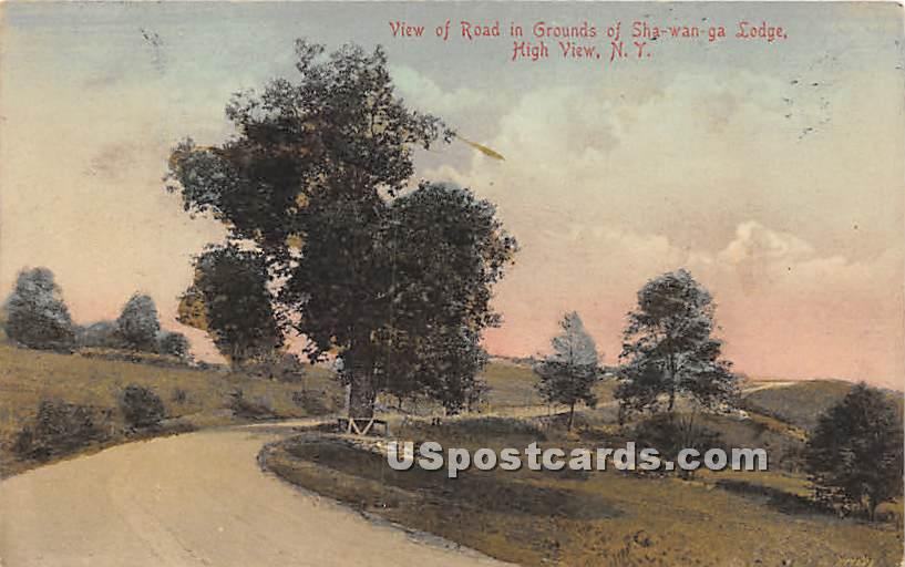 Road in Grounds of Shawanga Lodge - High View, New York NY Postcard