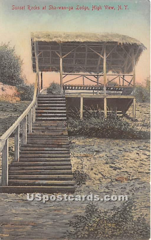 Sunset Rocks at Shawanga Lodge - High View, New York NY Postcard