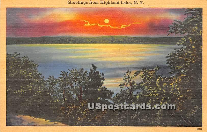 Greetings from - Highland Lake (Venoge, New York NY Postcard