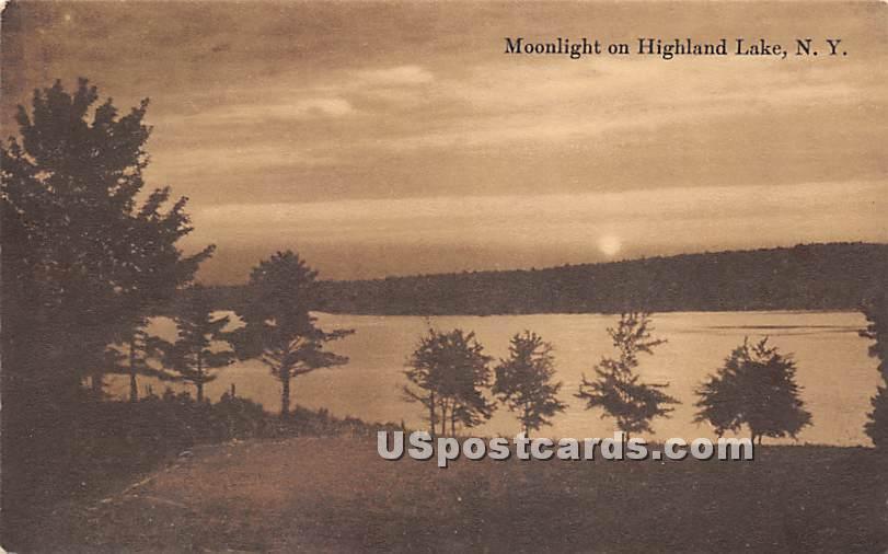Moonlight - Highland Lake (Venoge, New York NY Postcard