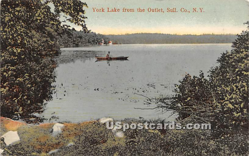 York Lake from the Outlet - Highland Lake (Venoge, New York NY Postcard