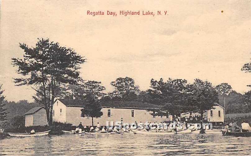 Regatta Day - Highland Lake (Venoge, New York NY Postcard