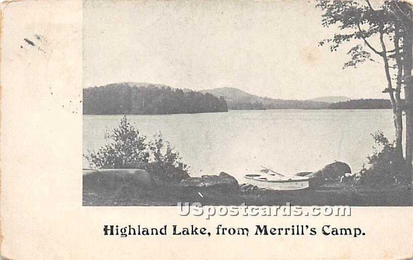 View from Merrill's Camp - Highland Lake (Venoge, New York NY Postcard