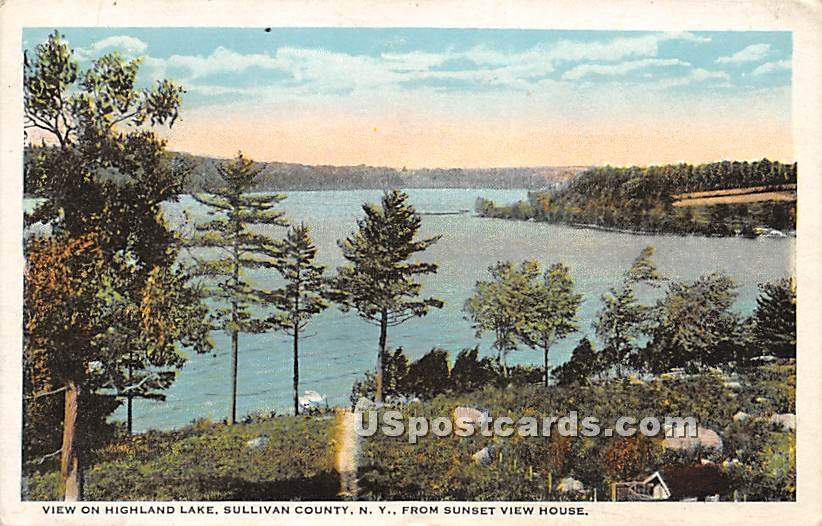 View from Sunset View House - Highland Lake (Venoge, New York NY Postcard