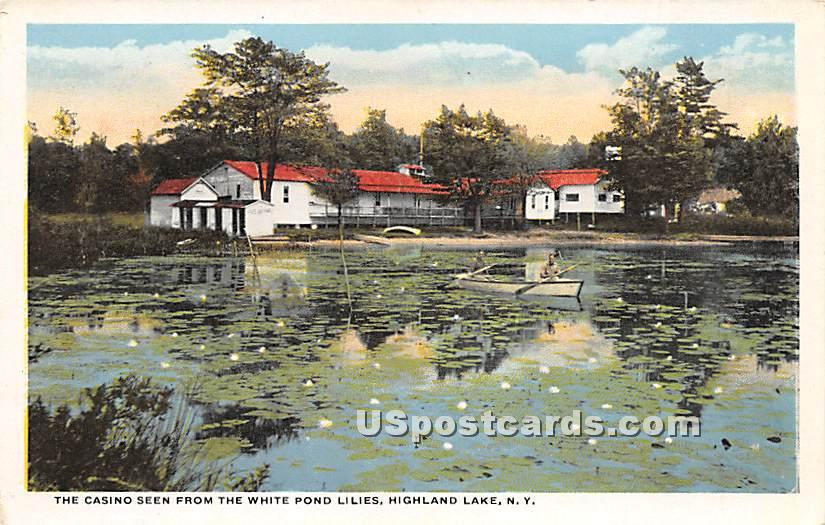 Casino seen from the White Pond Lilies - Highland Lake (Venoge, New York NY Postcard