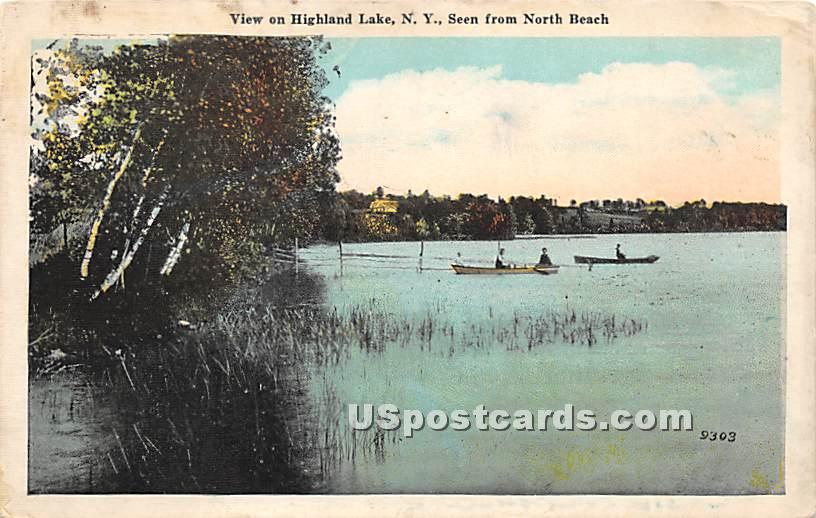 Seen from North Beach - Highland Lake (Venoge, New York NY Postcard