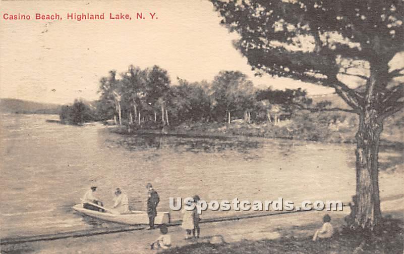 Casino Beach - Highland Lake (Venoge, New York NY Postcard