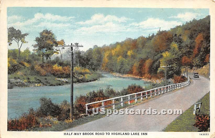 Half Way Brook Road - Highland Lake (Venoge, New York NY Postcard