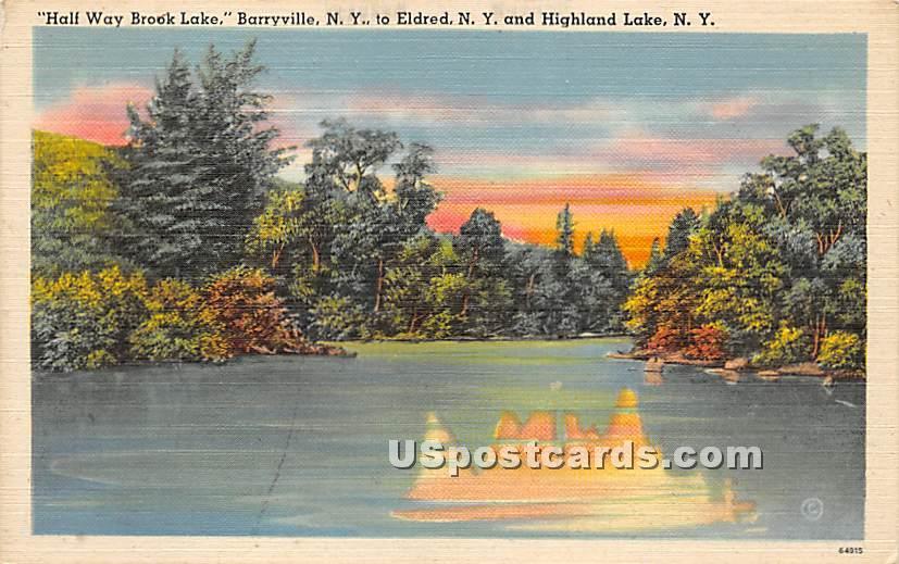 Half Way Brook Lake - Highland Lake (Venoge, New York NY Postcard