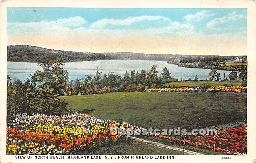 View up North Beach - Highland Lake (Venoge, New York NY Postcard