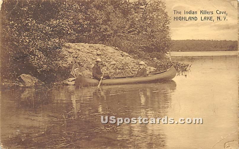 Indian Killers Cave - Highland Lake (Venoge, New York NY Postcard