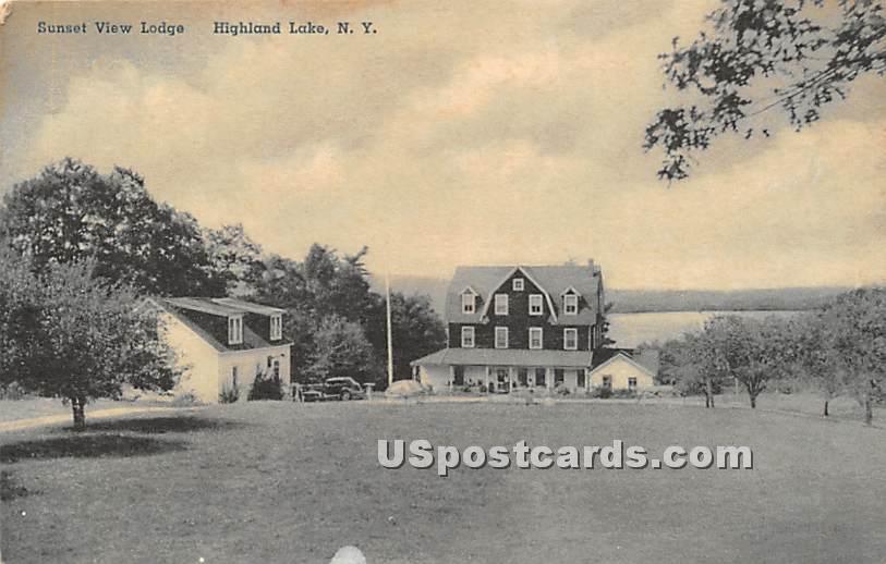 Sunset View Lodge - Highland Lake (Venoge, New York NY Postcard