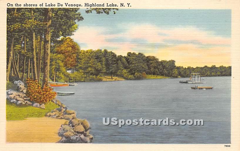 Shore of Lake De Venoge - Highland Lake (Venoge, New York NY Postcard