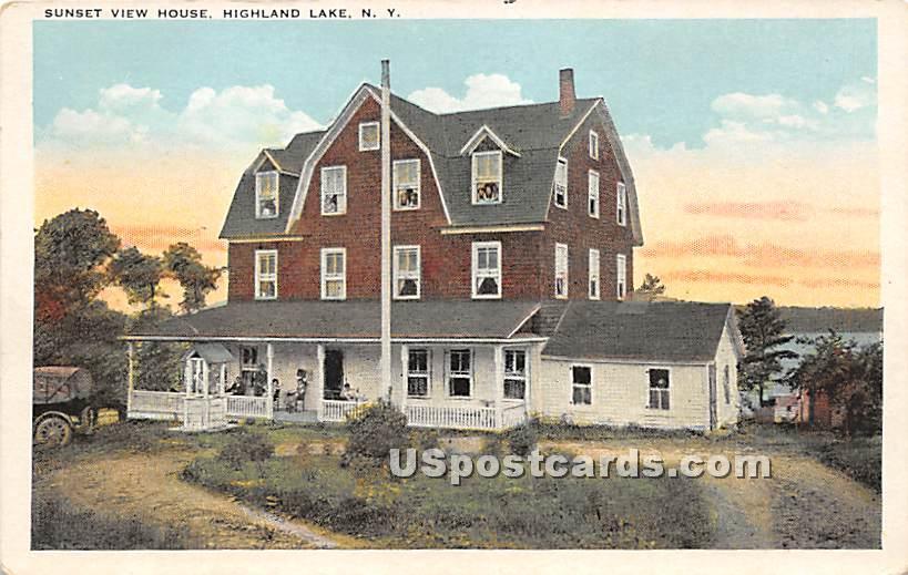 Sunset View House - Highland Lake (Venoge, New York NY Postcard
