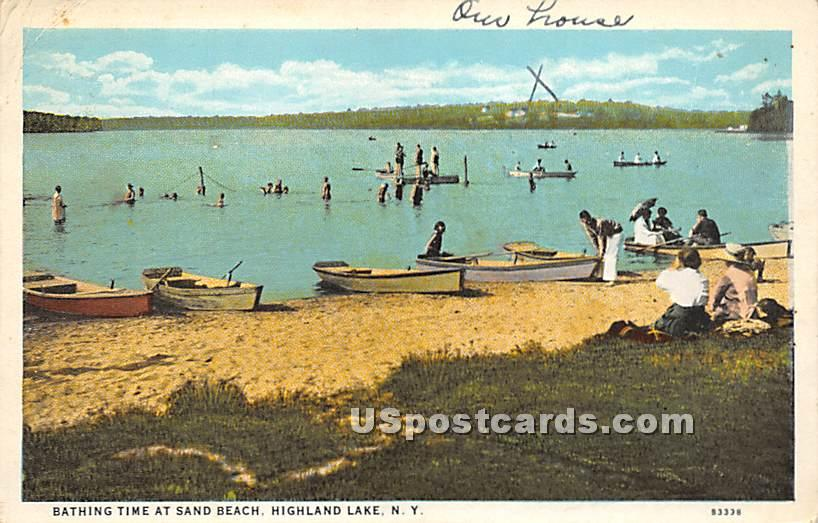 Bathing Time at Sand Beach - Highland Lake (Venoge, New York NY Postcard