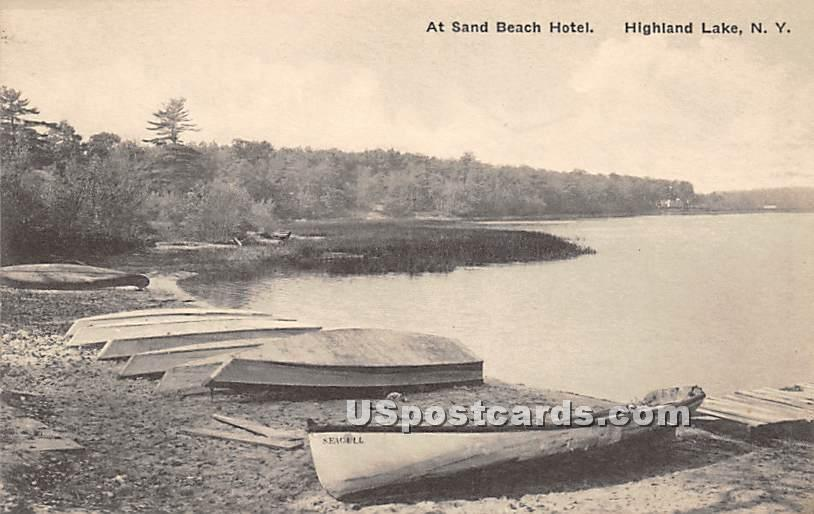 Sand Beach Hotel - Highland Lake (Venoge, New York NY Postcard