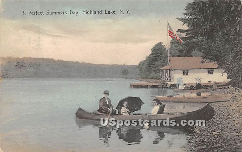 Perfect Summers Day - Highland Lake (Venoge, New York NY Postcard