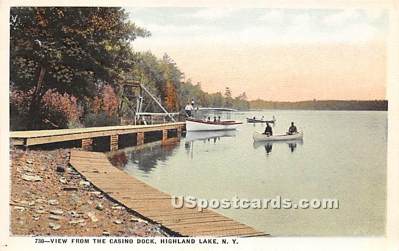View from the Casino Dock - Highland Lake (Venoge, New York NY Postcard