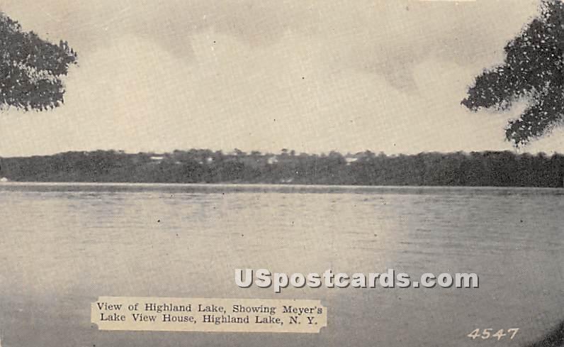 Highland Lake showing Meyer's Lake View House - Highland Lake (Venoge, New York NY Postcard