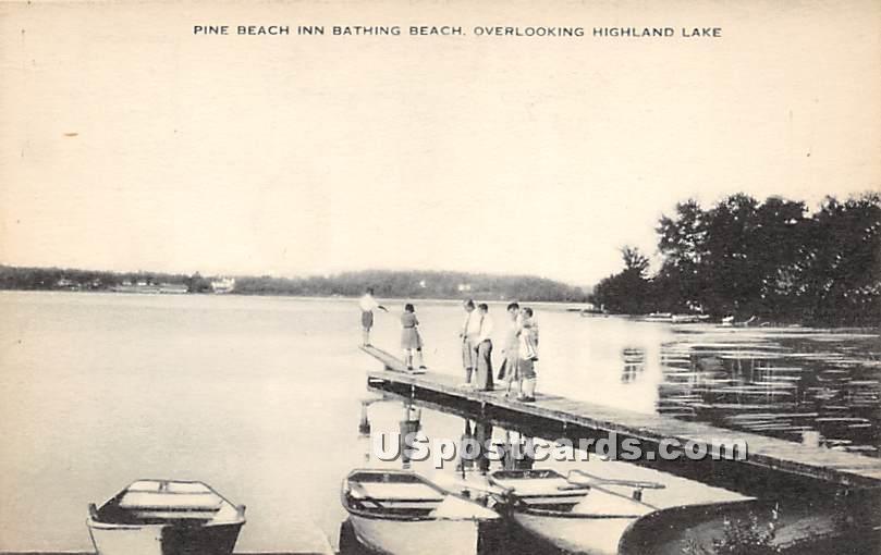 Pine Beach Inn Bathing Beach - Highland Lake (Venoge, New York NY Postcard