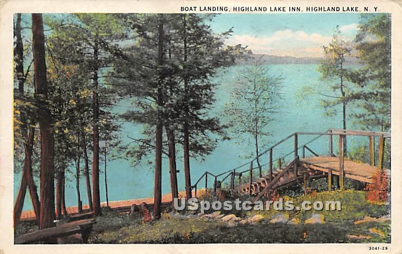 Boating Landing - Highland Lake (Venoge, New York NY Postcard