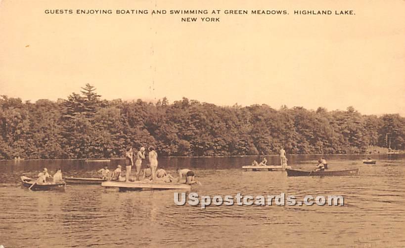 Guest enjoying boating and swimmig - Highland Lake (Venoge, New York NY Postcard