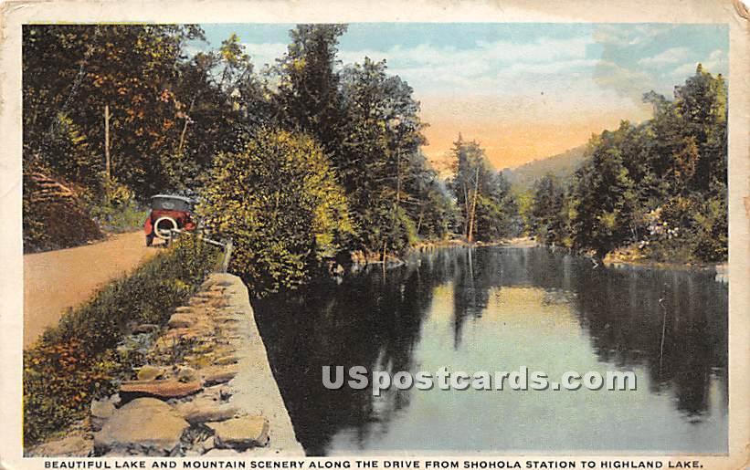Lake and Mountain Scenery - Highland Lake (Venoge, New York NY Postcard