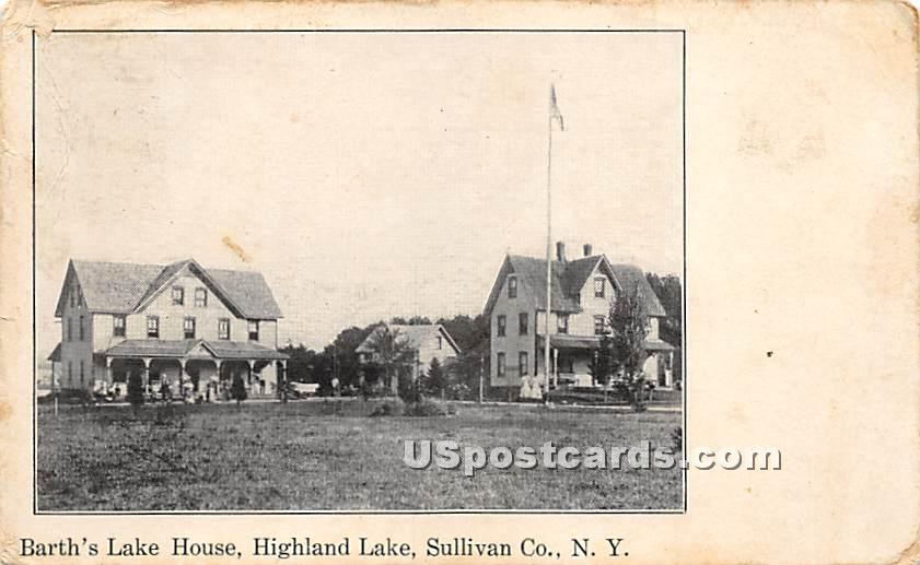 Barth's Lake House - Highland Lake (Venoge, New York NY Postcard