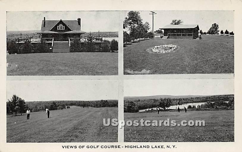 Views of Golf Course - Highland Lake (Venoge, New York NY Postcard