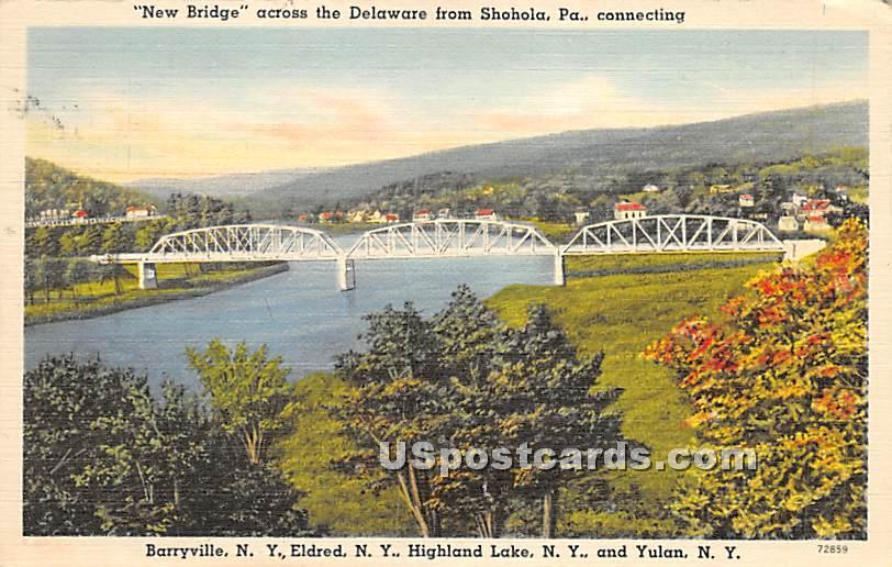 New Bridge across the Delaware - Highland Lake (Venoge, New York NY Postcard