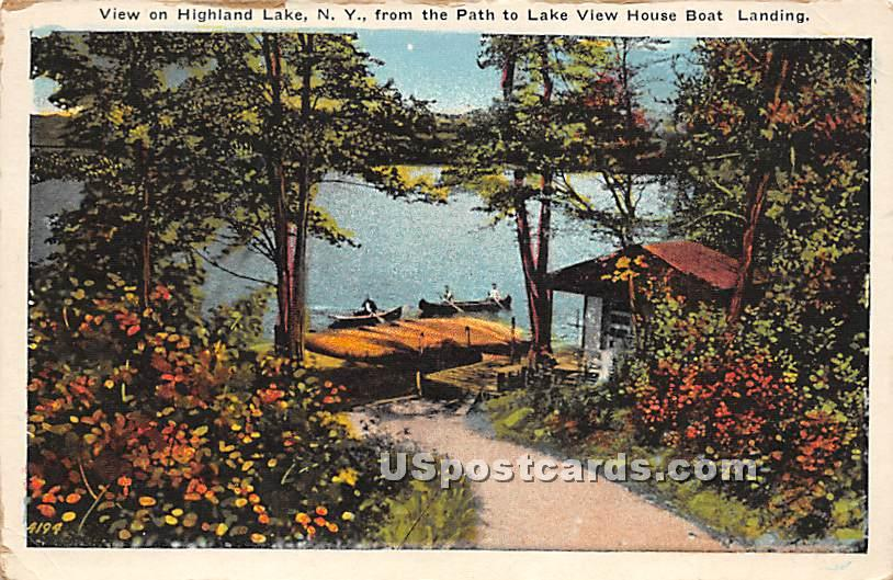 View from Path to Lake View House Boating Landing - Highland Lake (Venoge, New York NY Postcard