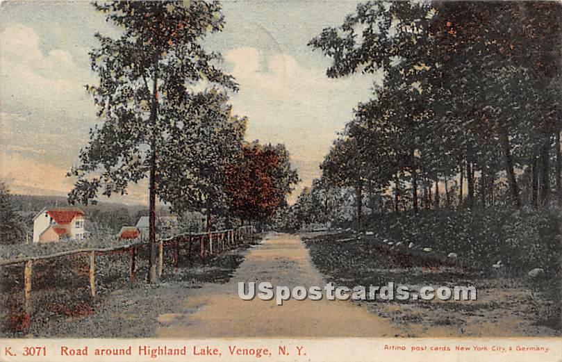 Road around Highland Lake - Highland Lake (Venoge, New York NY Postcard