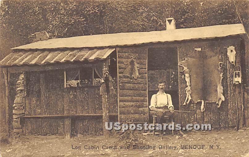 Log Cabin Camp and Shooting Gallery - Highland Lake (Venoge, New York NY Postcard