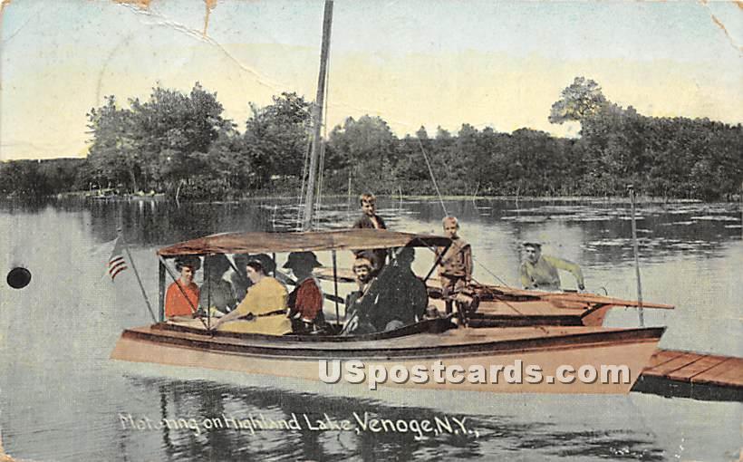 Motoring on Highland Lake - Highland Lake (Venoge, New York NY Postcard