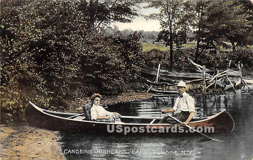 Canoeing - Highland Lake (Venoge, New York NY Postcard